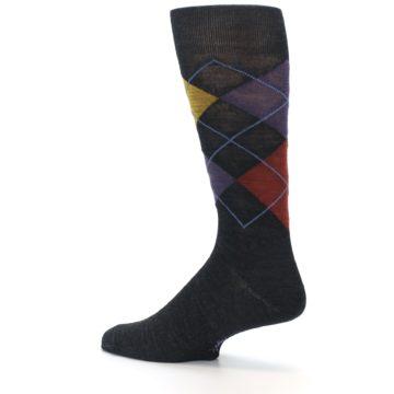 Image of Charcoal Multi Argyle Wool Men's Casual Socks (side-2-13)
