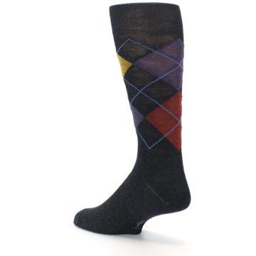 Image of Charcoal Multi Argyle Wool Men's Casual Socks (side-2-back-14)
