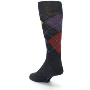 Image of Charcoal Multi Argyle Wool Men's Casual Socks (side-2-back-15)