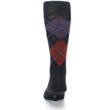 Image of Charcoal Multi Argyle Wool Men's Casual Socks (back-17)