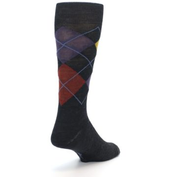 Image of Charcoal Multi Argyle Wool Men's Casual Socks (side-1-back-20)