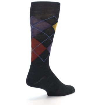 Image of Charcoal Multi Argyle Wool Men's Casual Socks (side-1-back-21)