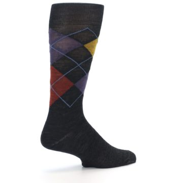 Image of Charcoal Multi Argyle Wool Men's Casual Socks (side-1-back-22)