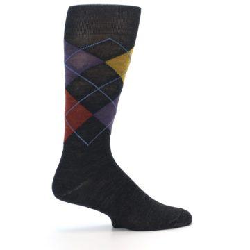 Image of Charcoal Multi Argyle Wool Men's Casual Socks (side-1-23)