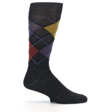 Image of Charcoal Multi Argyle Wool Men's Casual Socks (side-1-24)