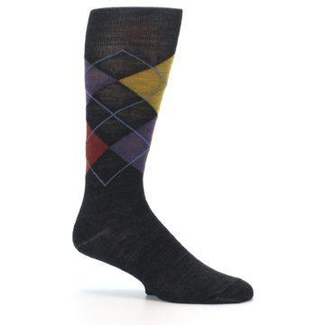 Image of Charcoal Multi Argyle Wool Men's Casual Socks (side-1-25)