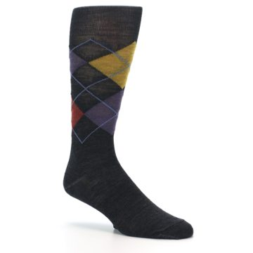 Image of Charcoal Multi Argyle Wool Men's Casual Socks (side-1-26)