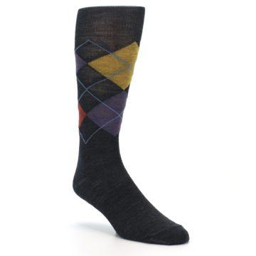 Image of Charcoal Multi Argyle Wool Men's Casual Socks (side-1-27)
