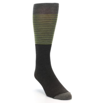 Image of Brown Green Stripe Wool Men's Casual Socks (side-1-front-02)