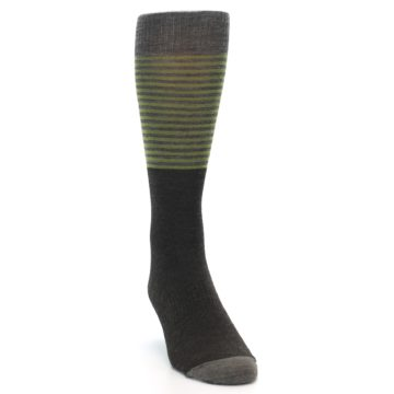 Image of Brown Green Stripe Wool Men's Casual Socks (side-1-front-03)