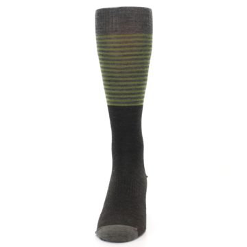 Image of Brown Green Stripe Wool Men's Casual Socks (front-05)