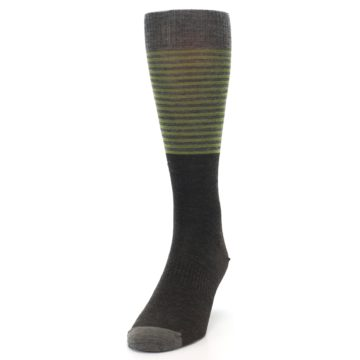 Image of Brown Green Stripe Wool Men's Casual Socks (side-2-front-06)