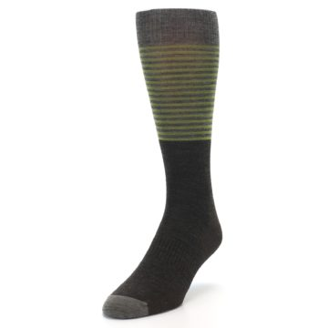Image of Brown Green Stripe Wool Men's Casual Socks (side-2-front-07)