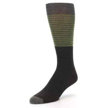 Image of Brown Green Stripe Wool Men's Casual Socks (side-2-front-08)