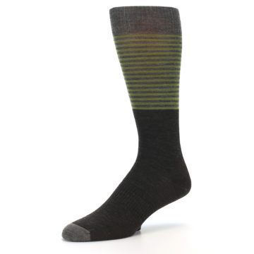 Image of Brown Green Stripe Wool Men's Casual Socks (side-2-09)