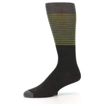 Image of Brown Green Stripe Wool Men's Casual Socks (side-2-10)