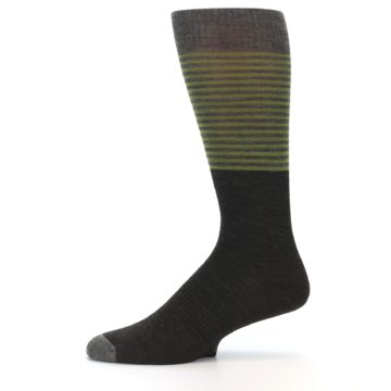 Image of Brown Green Stripe Wool Men's Casual Socks (side-2-11)