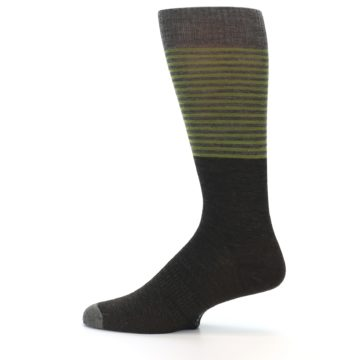 Image of Brown Green Stripe Wool Men's Casual Socks (side-2-12)