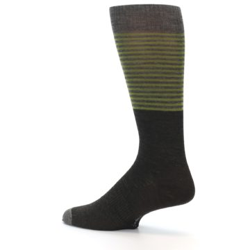 Image of Brown Green Stripe Wool Men's Casual Socks (side-2-13)