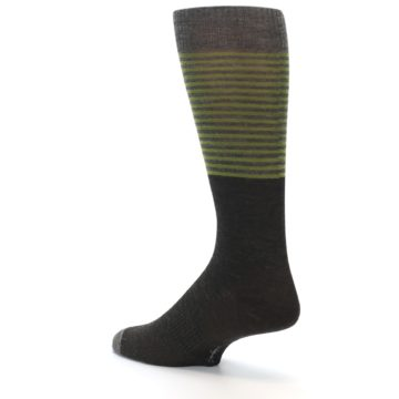 Image of Brown Green Stripe Wool Men's Casual Socks (side-2-back-14)