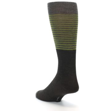 Image of Brown Green Stripe Wool Men's Casual Socks (side-2-back-15)