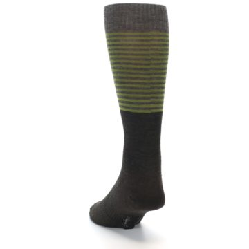 Image of Brown Green Stripe Wool Men's Casual Socks (side-2-back-16)