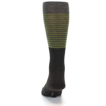 Image of Brown Green Stripe Wool Men's Casual Socks (back-17)