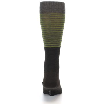 Image of Brown Green Stripe Wool Men's Casual Socks (back-18)