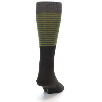 Image of Brown Green Stripe Wool Men's Casual Socks (back-19)