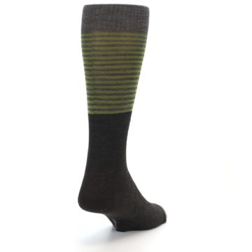 Image of Brown Green Stripe Wool Men's Casual Socks (side-1-back-20)