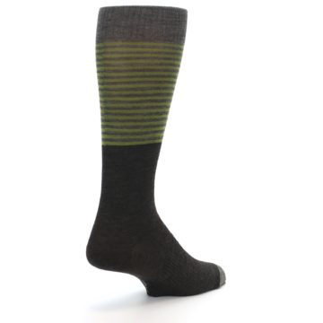 Image of Brown Green Stripe Wool Men's Casual Socks (side-1-back-21)