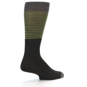 Image of Brown Green Stripe Wool Men's Casual Socks (side-1-back-22)