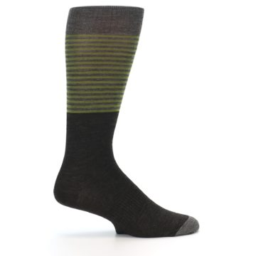 Image of Brown Green Stripe Wool Men's Casual Socks (side-1-24)