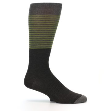 Image of Brown Green Stripe Wool Men's Casual Socks (side-1-25)