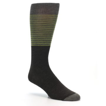 Image of Brown Green Stripe Wool Men's Casual Socks (side-1-27)