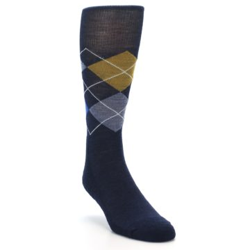 Image of Navy Blue Gold Argyle Wool Men's Casual Socks (side-1-front-02)