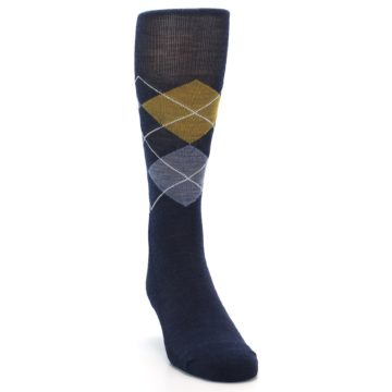 Image of Navy Blue Gold Argyle Wool Men's Casual Socks (side-1-front-03)