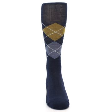 Image of Navy Blue Gold Argyle Wool Men's Casual Socks (front-04)