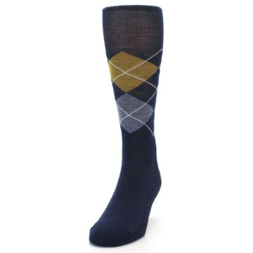 Image of Navy Blue Gold Argyle Wool Men's Casual Socks (side-2-front-06)