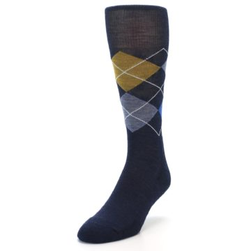 Image of Navy Blue Gold Argyle Wool Men's Casual Socks (side-2-front-07)