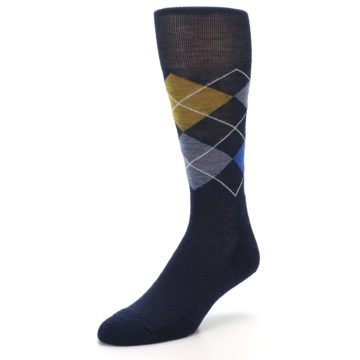 Image of Navy Blue Gold Argyle Wool Men's Casual Socks (side-2-front-08)