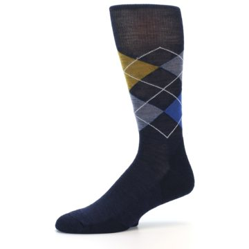 Image of Navy Blue Gold Argyle Wool Men's Casual Socks (side-2-10)