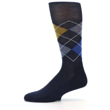 Image of Navy Blue Gold Argyle Wool Men's Casual Socks (side-2-11)