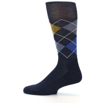Image of Navy Blue Gold Argyle Wool Men's Casual Socks (side-2-12)