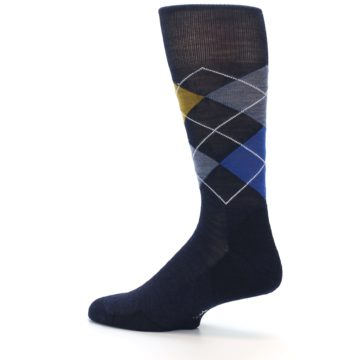 Image of Navy Blue Gold Argyle Wool Men's Casual Socks (side-2-13)