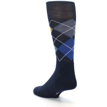 Image of Navy Blue Gold Argyle Wool Men's Casual Socks (side-2-back-15)