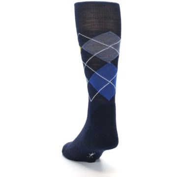 Image of Navy Blue Gold Argyle Wool Men's Casual Socks (side-2-back-16)