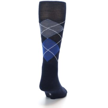 Image of Navy Blue Gold Argyle Wool Men's Casual Socks (back-19)