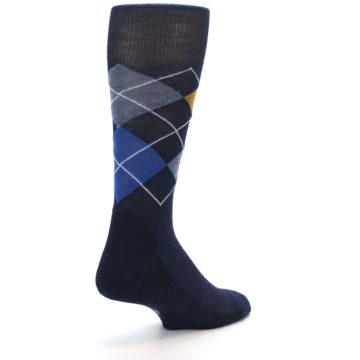 Image of Navy Blue Gold Argyle Wool Men's Casual Socks (side-1-back-21)