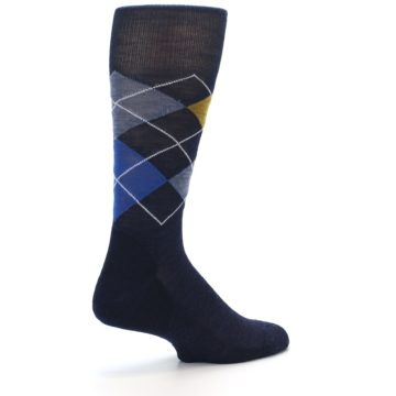 Image of Navy Blue Gold Argyle Wool Men's Casual Socks (side-1-back-22)